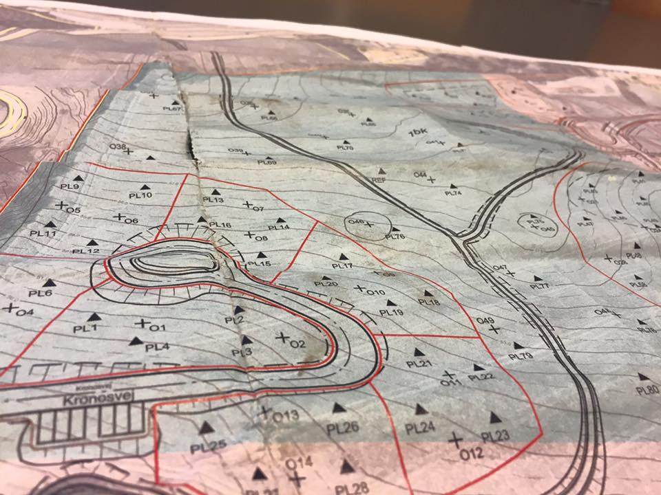 Kort over boringer i Gug Alper